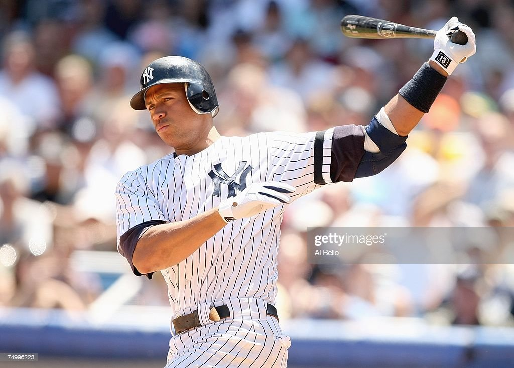Alex Rodriguez of the New York Yankees swings at the pitch against the Oakland Athletics during the game at Yankee Stadium on June 30 2007 in the...