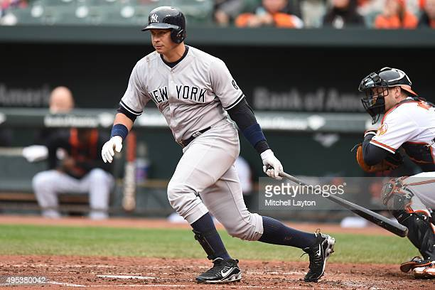 Alex Rodriguez of the New York Yankees takes a swing during a baseball game against the Baltimore Orioles at Oriole Park at Camden Yards on October 4...