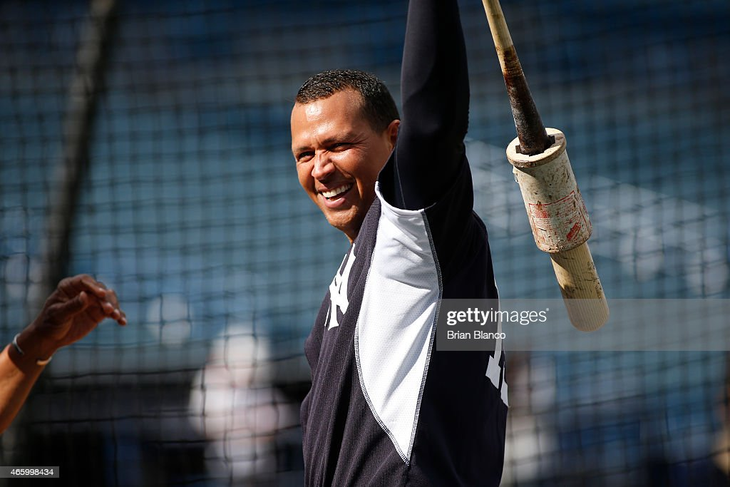 Alex Rodriguez of the New York Yankees takes bating practice before the start of a spring training game against the Atlanta Braves on March 12 2015...