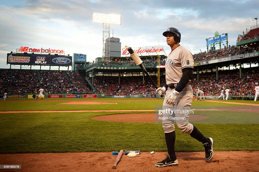 Alex Rodriguez #13 of the New York Yankees walks back to the dugout in the first inning during the game against the Boston Red Sox at Fenway Park on April 29, 2016 in Boston, Massachusetts.
