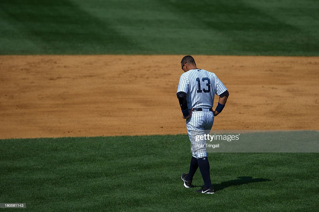 Alex Rodriguez #13 of the New York Yankees walks on the field during the game against the Detroit Tigers at Yankee Stadium on August 11, 2013 in the Bronx borough of Manhattan.