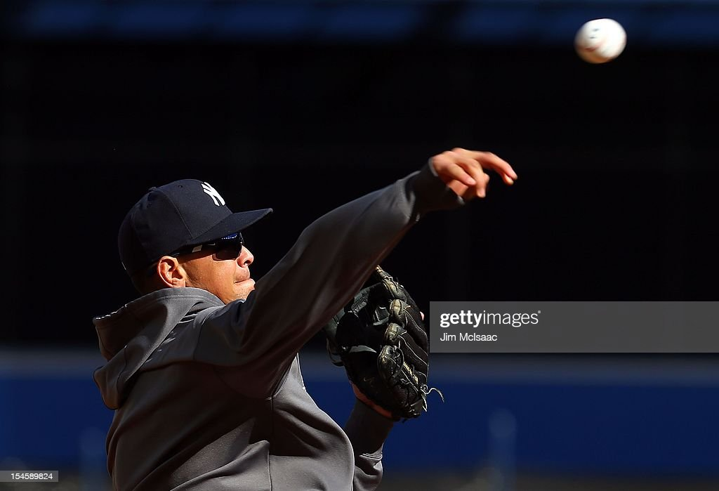 Alex Rodriguez #13 of the New York Yankees warms up before Game Five of the American League Division Series against the Baltimore Orioles at Yankee Stadium on October 12, 2012 in the Bronx borough of New York City. The Yankees defeated the Orioles 3-1 to win their best of five series three games to two.