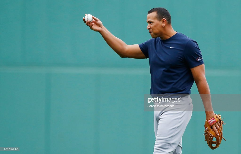 Alex Rodriguez #13 of the New York Yankees warms up prior to the game against the Boston Red Sox on August 18, 2013 at Fenway Park in Boston, Massachusetts.
