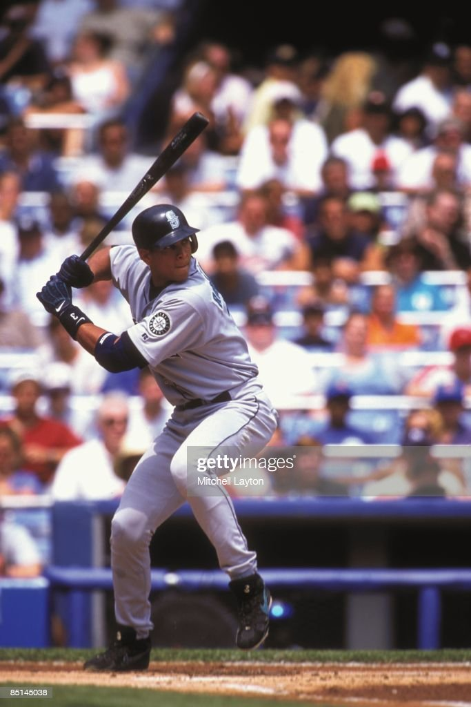 Alex Rodriguez of the Seattle Mariners bats during a baseball game against the New York Yankees on August 7 2000 at Yankee Stadium in New York New...