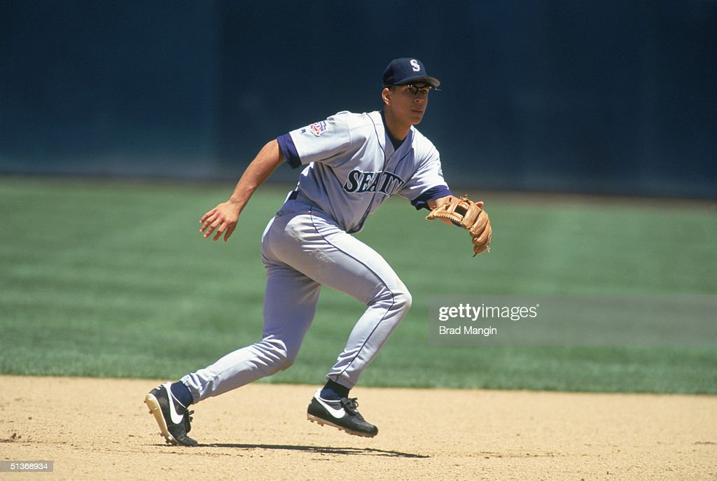 Alex Rodriguez of the Seattle Mariners reacts to a play during a game in 1997