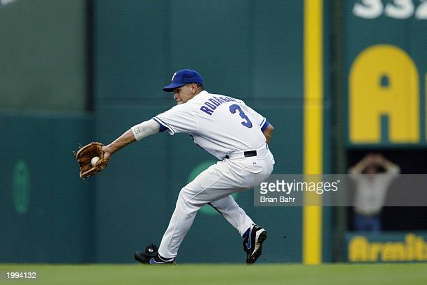 Alex Rodriguez of the Texas Rangers makes a play on a ground ball during the game against the Cleveland Indians at the Ballpark at Arlington on May 9...