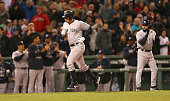 Alex Rodriguez rounds the bases after hit his 660th career home run to tie Willie Mays record during a game with Boston Red Sox in the 8th inning at...