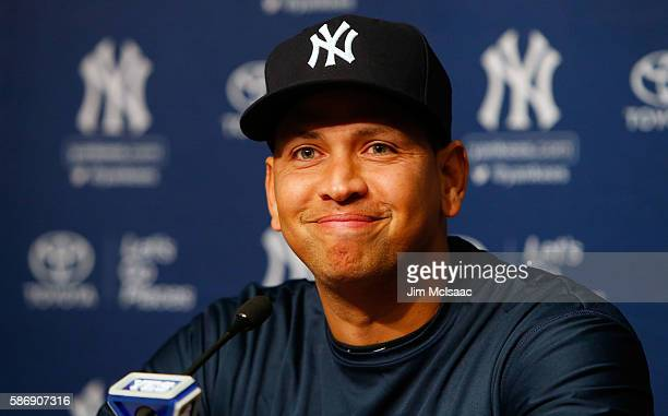 Alex Rodriguez speaks during a news conference on August 7 2016 at Yankee Stadium in the Bronx borough of New York City Rodriguez announced that he...