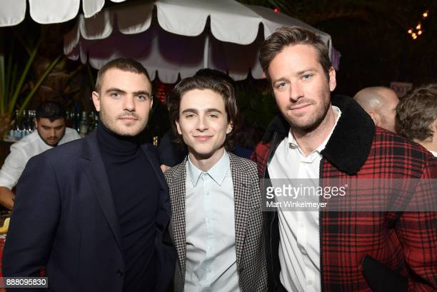 Alex Roe Timothee Chalamet and Armie Hammer attend the 2017 GQ Men of the Year party at Chateau Marmont on December 7 2017 in Los Angeles California