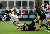 Alex Rogers of Newcastle Falcons challenges Luke McLean of Sale Sharks during the LV Cup rugby match between Newcastle Falcons and Sale Sharks at...