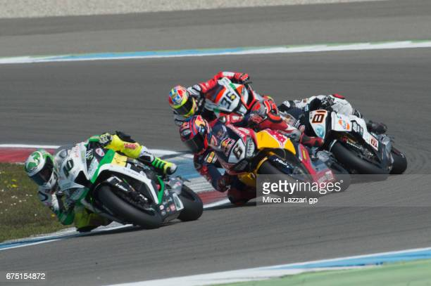 Alex Roman Ramos of Spain and TEAM GOELEVEN leads the field during the race 2 during the FIM World Superbike Championship Assen Race 2 on April 30...
