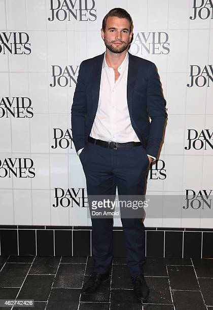 Alex Russell arrives at the David Jones Autumn/Winter 2015 Collection Launch at David Jones Elizabeth Street Store on February 4 2015 in Sydney...