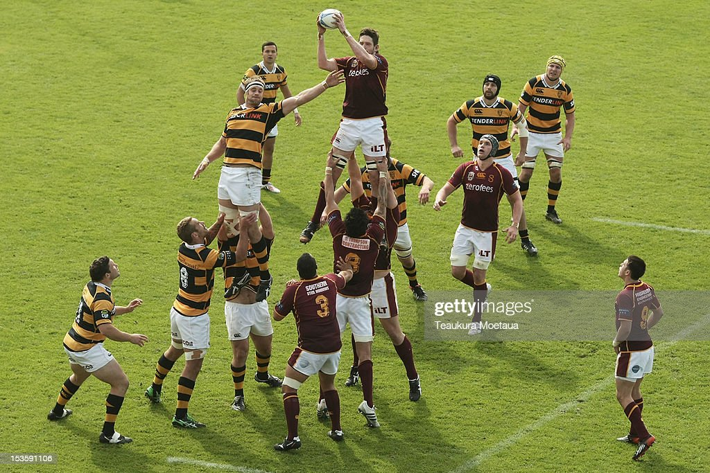Alex Ryan of Southland takes lineout ball during the round 13 ITM Cup match between Southland and Taranaki at Rugby Park Stadium on October 7 2012 in...