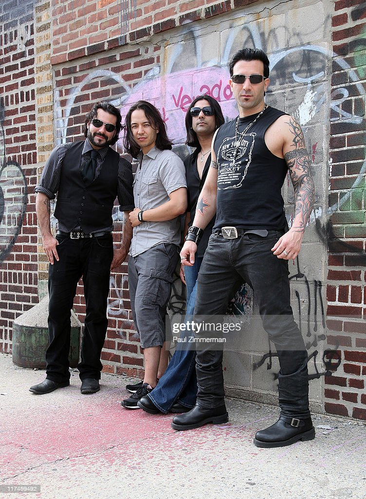 Alex Saassaris, Eric Bergmann, Gaurav Bali and Taki Sassaris on the set of the Eve to Adam 'Run Your Mouth' music video shoot on the streets of Brooklyn on June 26, 2011 in New York City.