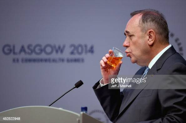 Alex Salmond First Minister of Scotland attends a media conference at the Commonwealth Games media centre on July 22 2014 in Glasgow Scotland Final...