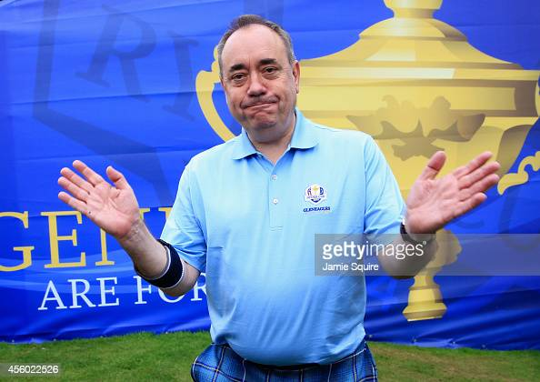 Alex Salmond First Minister of Scotland poses ahead of the 2014 Ryder Cup on the PGA Centenary course at the Gleneagles Hotel on September 24 2014 in...