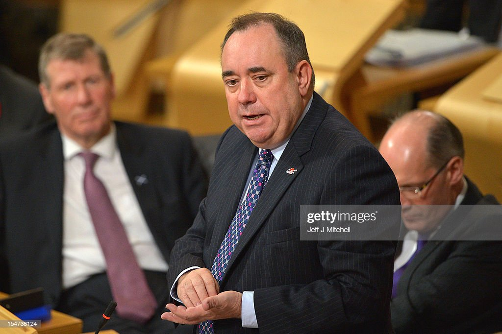 <a gi-track='captionPersonalityLinkClicked' href=/galleries/search?phrase=Alex+Salmond&family=editorial&specificpeople=857688 ng-click='$event.stopPropagation()'>Alex Salmond</a> First Minister of Scotland takes questions at the Scottish Parliament on October 25, 2012 in Edinburgh, Scotland. First Minister answered questions from the opposition parties on the row over whether the SNP government had held legal advice on the EU status of an independent Scotland.