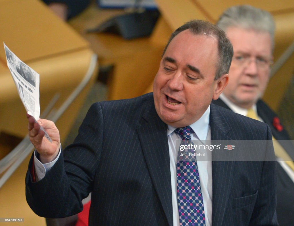 Alex Salmond First Minister of Scotland takes questions at the Scottish Parliament on October 25, 2012 in Edinburgh, Scotland. The First Minister answered questions from the opposition parties on the row over whether the SNP government had held legal advice on the EU status of an independent Scotland.