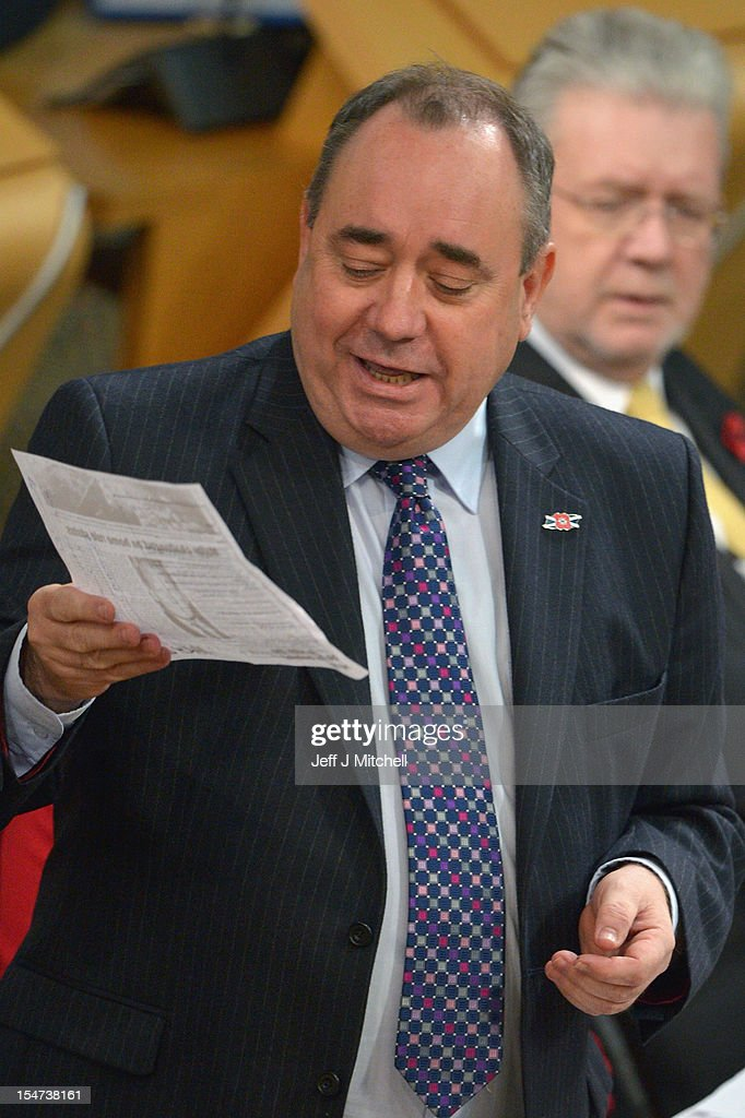 <a gi-track='captionPersonalityLinkClicked' href=/galleries/search?phrase=Alex+Salmond&family=editorial&specificpeople=857688 ng-click='$event.stopPropagation()'>Alex Salmond</a> First Minister of Scotland takes questions at the Scottish Parliament on October 25, 2012 in Edinburgh, Scotland. The First Minister answered questions from the opposition parties on the row over whether the SNP government had held legal advice on the EU status of an independent Scotland.