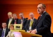 Alex Salmond makes his keynote speech at the SNP Autumn Conference on October 19 2013 at the Perth Concert Hall Perth Scotland Alex Salmond opens the...