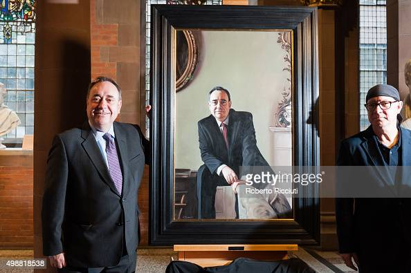 Alex Salmond MP and artist Gerard Burns unveil a painting of Mr Salmond at the Scottish National Portrait Gallery on November 26 2015 in...
