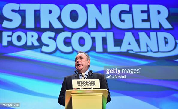 Alex Salmond MP speaks during the afternoon session on day two of the 81st annual conference at the Aberdeen Exhibition and Conference Centre on...