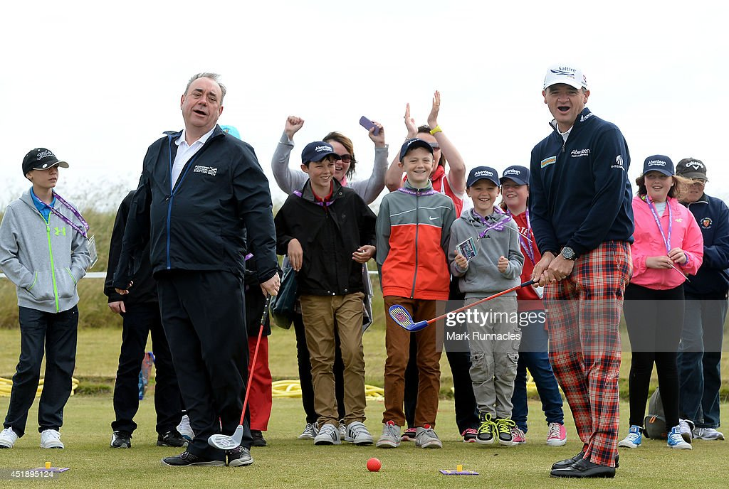 Alex Salmond MSP First Minister of Scotland at a Club Golf Event with Paul Lawrie of Scotland during the Aberdeen Asset Management Scottish Open...
