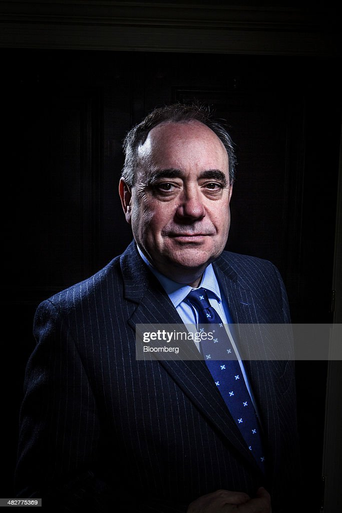 Alex Salmond, Scotland's first minister, stands for a photograph after an interview in New York, U.S., on Friday, April 4, 2014. Salmond discussed Margo MacDonald, a campaigner for independence for Scotland who served in both the Scottish and U.K. parliaments during a political career spanning four decades, who died at age 70. MacDonald 'played a profound role' in the 'home rule journey,' he said. Photographer: Chris Goodney/Bloomberg via Getty Images