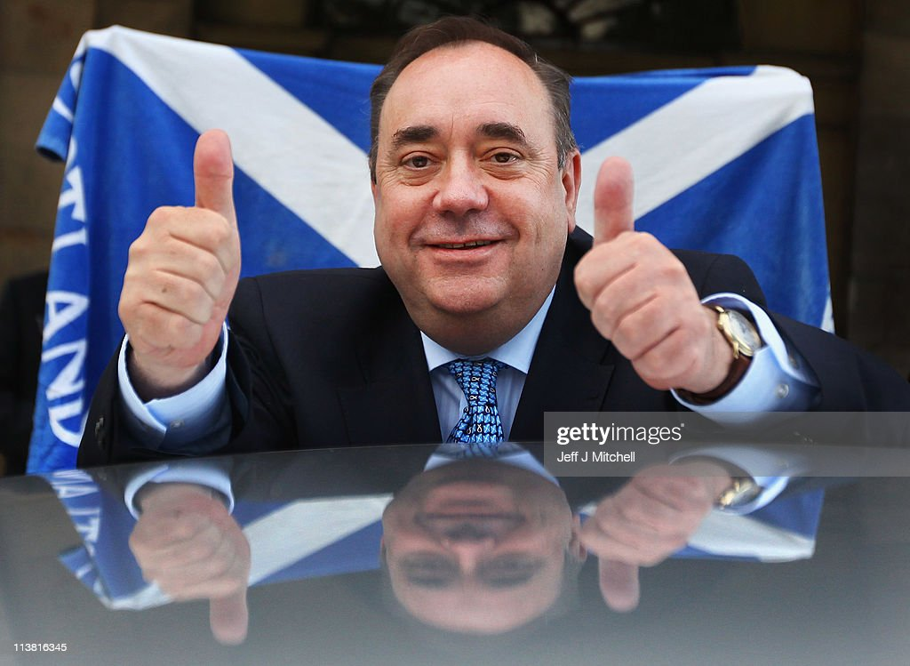<a gi-track='captionPersonalityLinkClicked' href=/galleries/search?phrase=Alex+Salmond&family=editorial&specificpeople=857688 ng-click='$event.stopPropagation()'>Alex Salmond</a>, Scottish National Party Leader and Scotland's First Minister leaves Prestonfield House following his victory speech on May 6, 2011 in Edinburgh. The SNP has secured an unprecedented victory in the Scottish Parliament elections winning 69 seats in the 129 seat parliament.