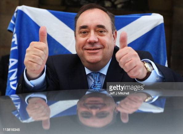 Alex Salmond Scottish National Party Leader and Scotland's First Minister leaves Prestonfield House following his victory speech on May 6 2011 in...