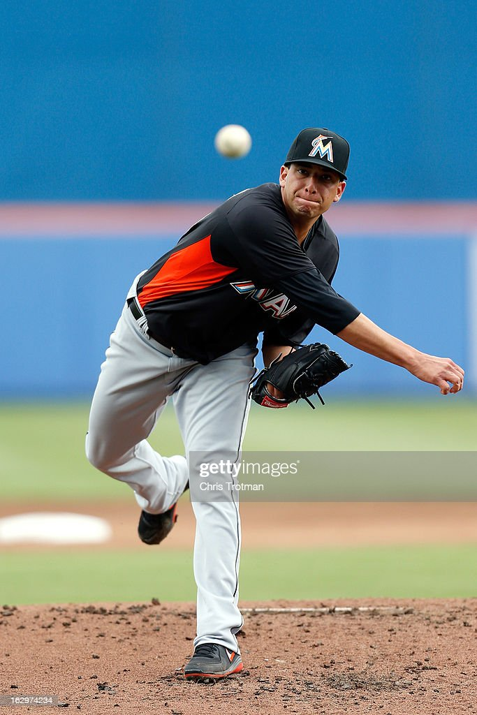 Alex Sanabia #59 of the Miami Marlins pitches against the New York Mets at Tradition Field on March 2, 2013 in Port St. Lucie, Florida.