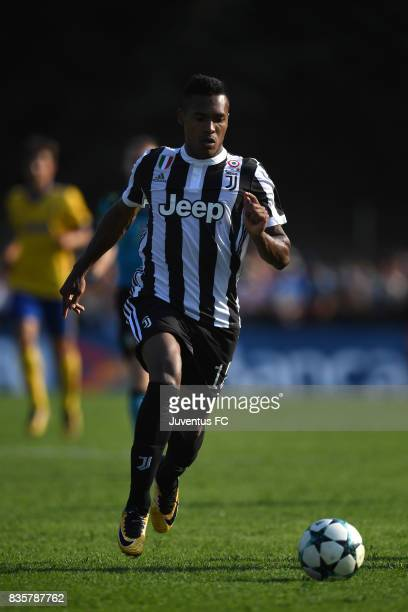 Alex Sandro of Juventus A in action during the preseason friendly match between Juventus A and Juventus B on August 17 2017 in Villar Perosa Italy