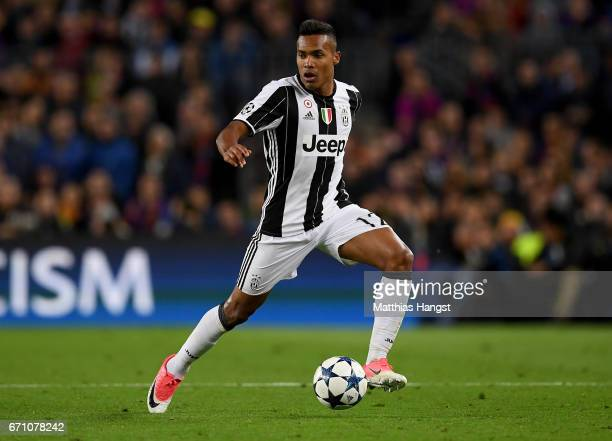 Alex Sandro of Juventus controls the ball during the UEFA Champions League Quarter Final second leg match between FC Barcelona and Juventus at Camp...