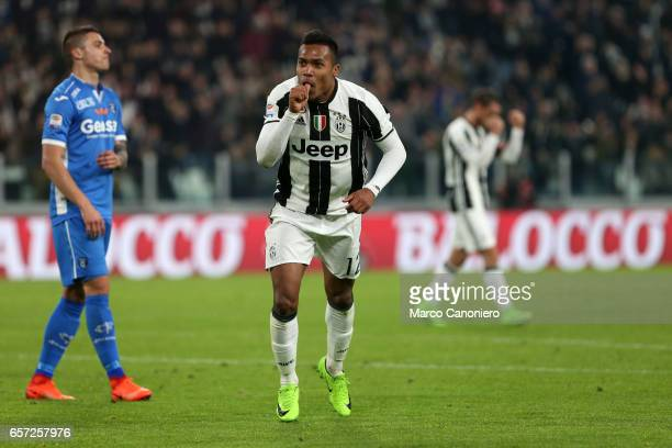 Alex Sandro of Juventus FC celebrates after scoring a goal during the Serie A football match between Juventus FC and Empoli FC at Juventus Stadium...