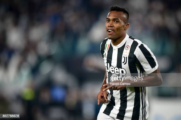 Alex Sandro of Juventus FC celebrates after scoring a goal during the Serie A football match between Juventus FC and Torino FC Juventus FC wins 40...