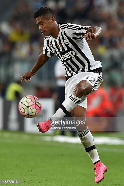 Alex Sandro of Juventus FC controls the ball during the Serie A match between Juventus FC and AC Chievo Verona at Juventus Arena on September 12 2015...