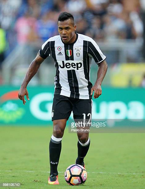 Alex Sandro of Juventus FC in action during the Serie A match between SS Lazio and Juventus FC at Stadio Olimpico on August 27 2016 in Rome Italy