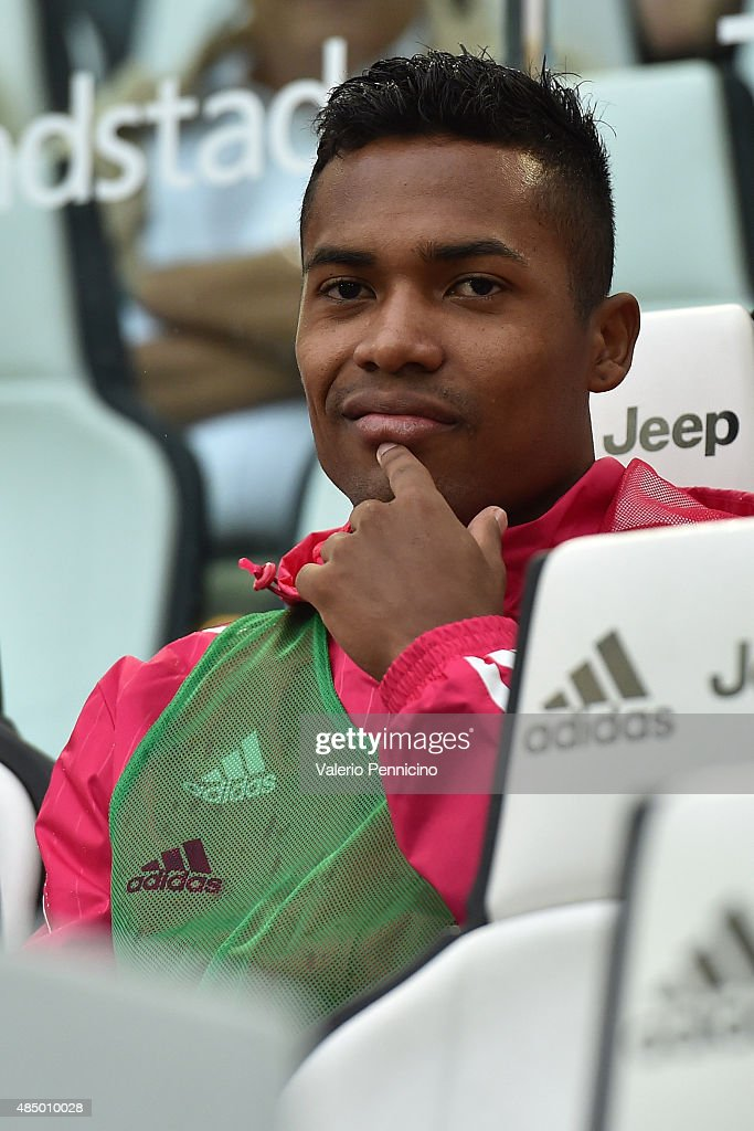 Alex Sandro of Juventus FC sits on the bench prior to the Serie A match between Juventus FC and Udinese Calcio at Juventus Arena on August 23, 2015 in Turin, Italy.