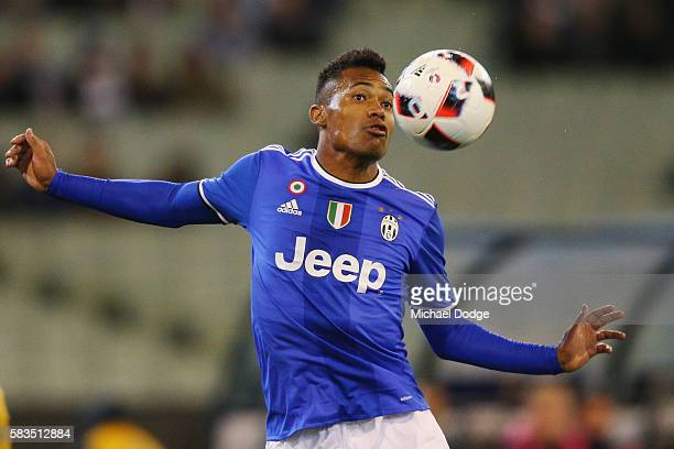 Alex Sandro of Juventus heads the ball during the 2016 International Champions Cup match between Juventus FC and Tottenham Hotspur at Melbourne...