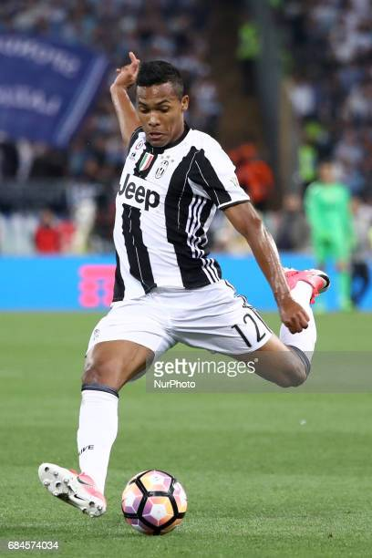 Alex Sandro of Juventus in action during the Coppa Italia final match between Juventus FC and SS Lazio at the Olympic Stadium on May 17 2017 in Rome...
