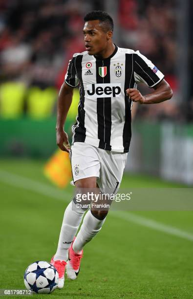 Alex Sandro of Juventus in action during the UEFA Champions League Semi Final second leg match between Juventus and AS Monaco at Juventus Stadium on...