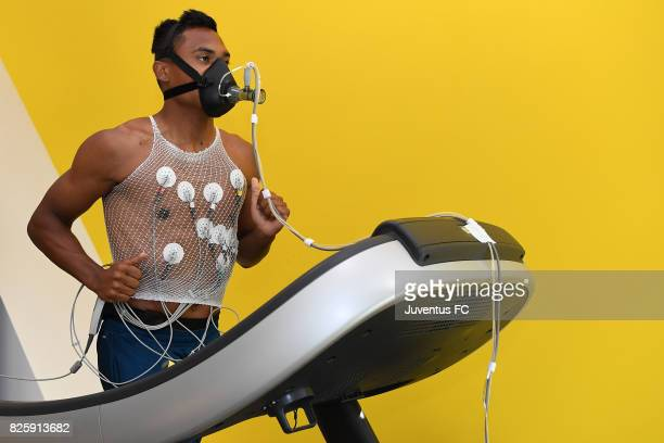 Alex Sandro of Juventus undergoes medical tests at J medical on August 3 2017 in Turin Italy