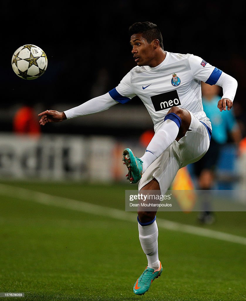 Alex Sandro of Porto in action during the Group A UEFA Champions League match between Paris Saint-Germain FC and FC Porto at Parc des Princes on December 4, 2012 in Paris, France.