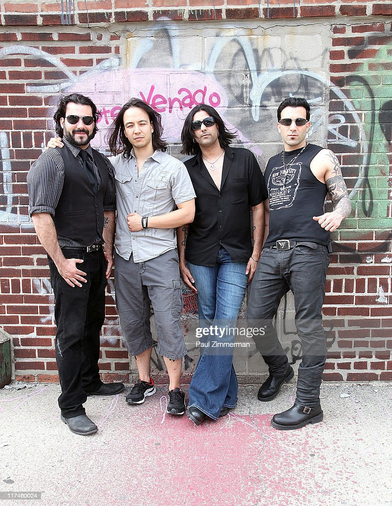 Alex Sassaris, Eric Bergmann, Gaurav Bali and Taki Sassaris on the set of the Eve to Adam 'Run Your Mouth' music video shoot at Streets of Brooklyn on June 26, 2011 in New York City.