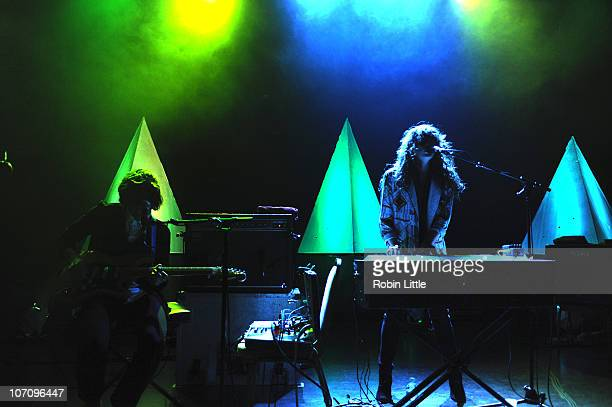 Alex Scally and Victoria Legrand of Beach House perform on stage at Shepherds Bush Empire on November 23 2010 in London England