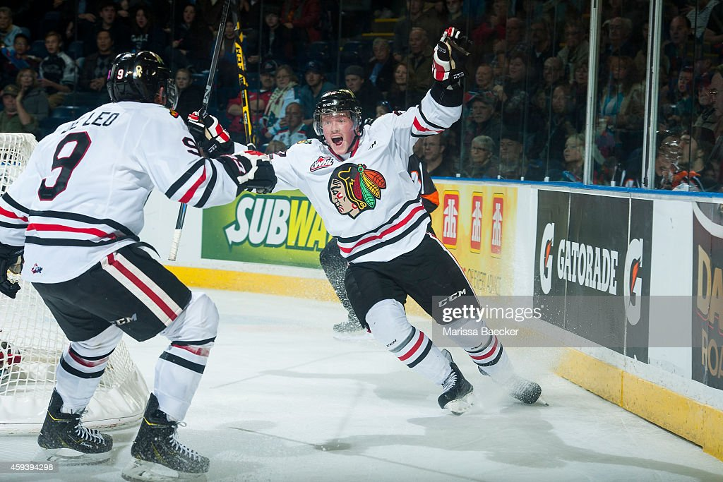 Alex Schoenborn of Portland Winterhawks celebrates scoring the winning goal in overtime against the Kelowna Rockets on November 21 2014 at Prospera...