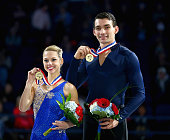 Alex Scimeca and Christopher Knierim celebrate after winning the Championship Pairs Competition during day 3 of the 2015 Prudential US Figure Skating...