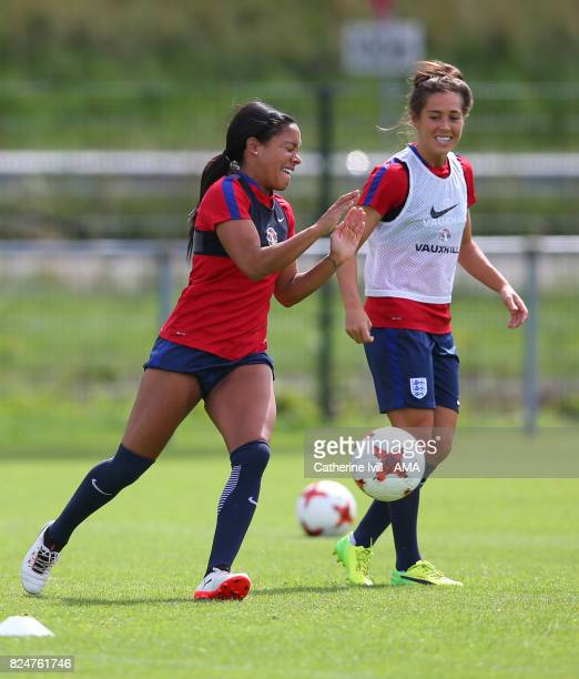 Alex Scott and Fara Williams of England Women during an England Women training session on July 31 2017 in Utrecht Netherlands