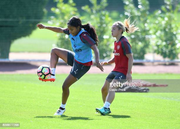 Alex Scott and Jordan Nobbs of Arsenal Women during an Arsenal Women Training Session at London Colney on August 25 2017 in St Albans England