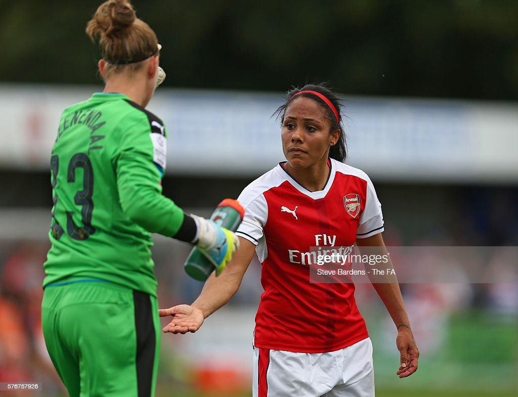 Alex Scott and Sari van Veenendaal of Arsenal Ladies shake hands at half time during the FA WSL 1 match between Chelsea Ladies FC and Arsenal Ladies...